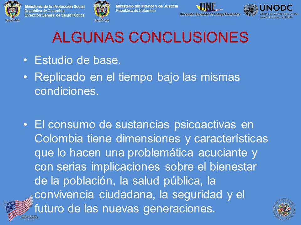 Ministerio de la Protección Social República de Colombia Dirección General de Salud Pública Ministerio del Interior y de Justicia República de Colombia ALGUNAS CONCLUSIONES Estudio de base.