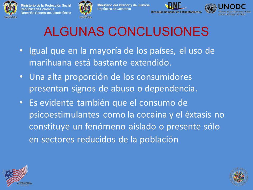 Ministerio de la Protección Social República de Colombia Dirección General de Salud Pública Ministerio del Interior y de Justicia República de Colombia ALGUNAS CONCLUSIONES Igual que en la mayoría de los países, el uso de marihuana está bastante extendido.