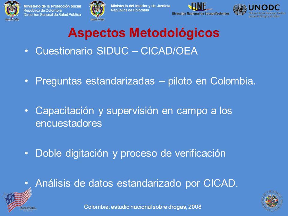 Ministerio de la Protección Social República de Colombia Dirección General de Salud Pública Ministerio del Interior y de Justicia República de Colombia Aspectos Metodológicos Cuestionario SIDUC – CICAD/OEA Preguntas estandarizadas – piloto en Colombia.