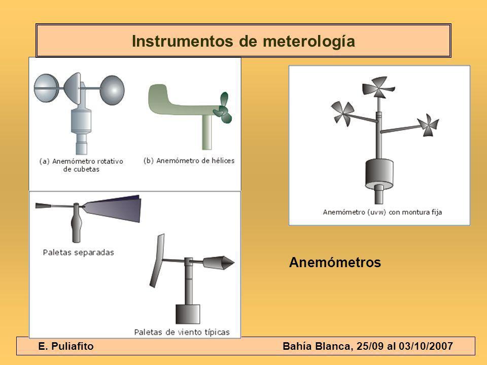 E. Puliafito Bahía Blanca, 25/09 al 03/10/2007 Instrumentos de meterología Anemómetros