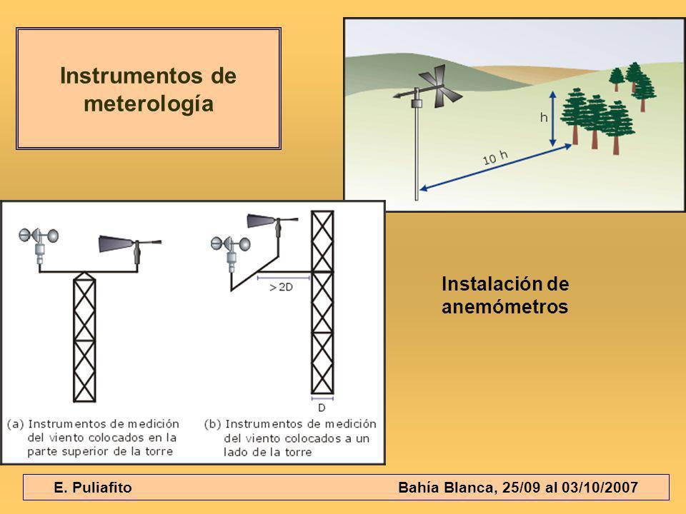 E. Puliafito Bahía Blanca, 25/09 al 03/10/2007 Instrumentos de meterología Instalación de anemómetros