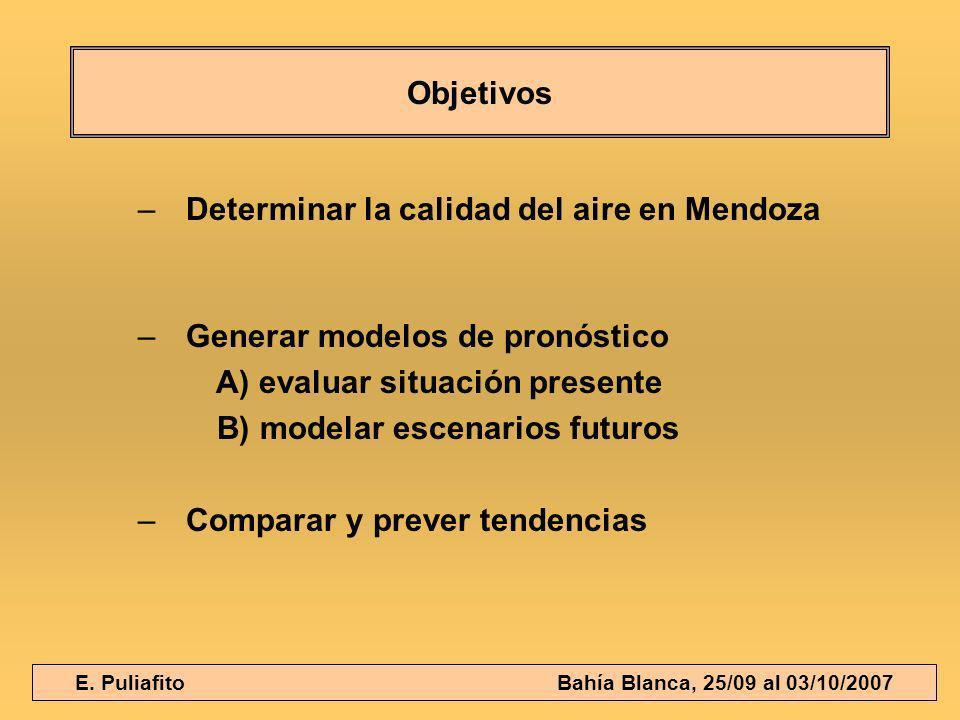 E. Puliafito Bahía Blanca, 25/09 al 03/10/2007 Objetivos –Determinar la calidad del aire en Mendoza –Generar modelos de pronóstico A) evaluar situació