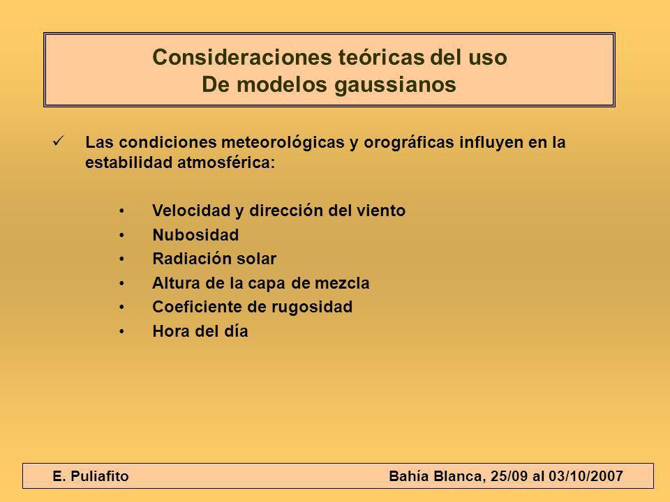 E. Puliafito Bahía Blanca, 25/09 al 03/10/2007 Las condiciones meteorológicas y orográficas influyen en la estabilidad atmosférica: Velocidad y direcc