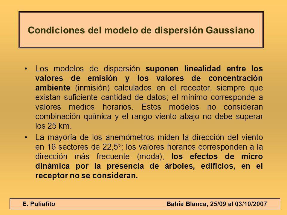 E. Puliafito Bahía Blanca, 25/09 al 03/10/2007 Los modelos de dispersión suponen linealidad entre los valores de emisión y los valores de concentració