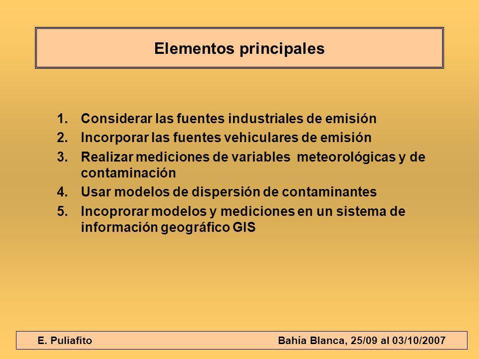 E. Puliafito Bahía Blanca, 25/09 al 03/10/2007 Elementos principales 1.Considerar las fuentes industriales de emisión 2.Incorporar las fuentes vehicul