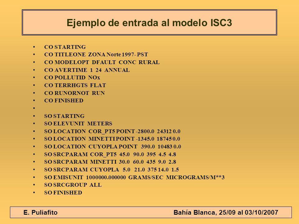 E. Puliafito Bahía Blanca, 25/09 al 03/10/2007 CO STARTING CO TITLEONE ZONA Norte 1997- PST CO MODELOPT DFAULT CONC RURAL CO AVERTIME 1 24 ANNUAL CO P