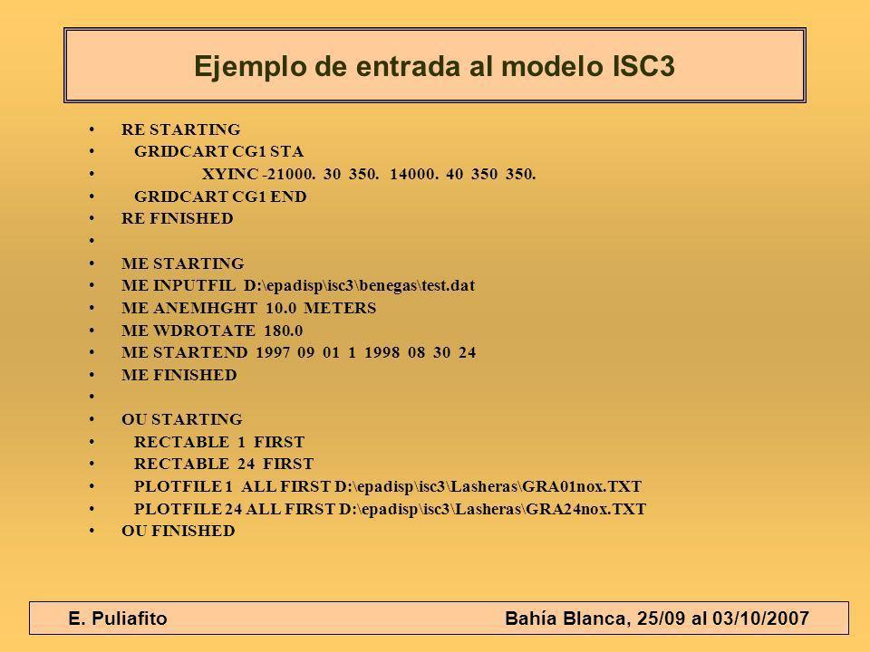 E. Puliafito Bahía Blanca, 25/09 al 03/10/2007 RE STARTING GRIDCART CG1 STA XYINC -21000. 30 350. 14000. 40 350 350. GRIDCART CG1 END RE FINISHED ME S