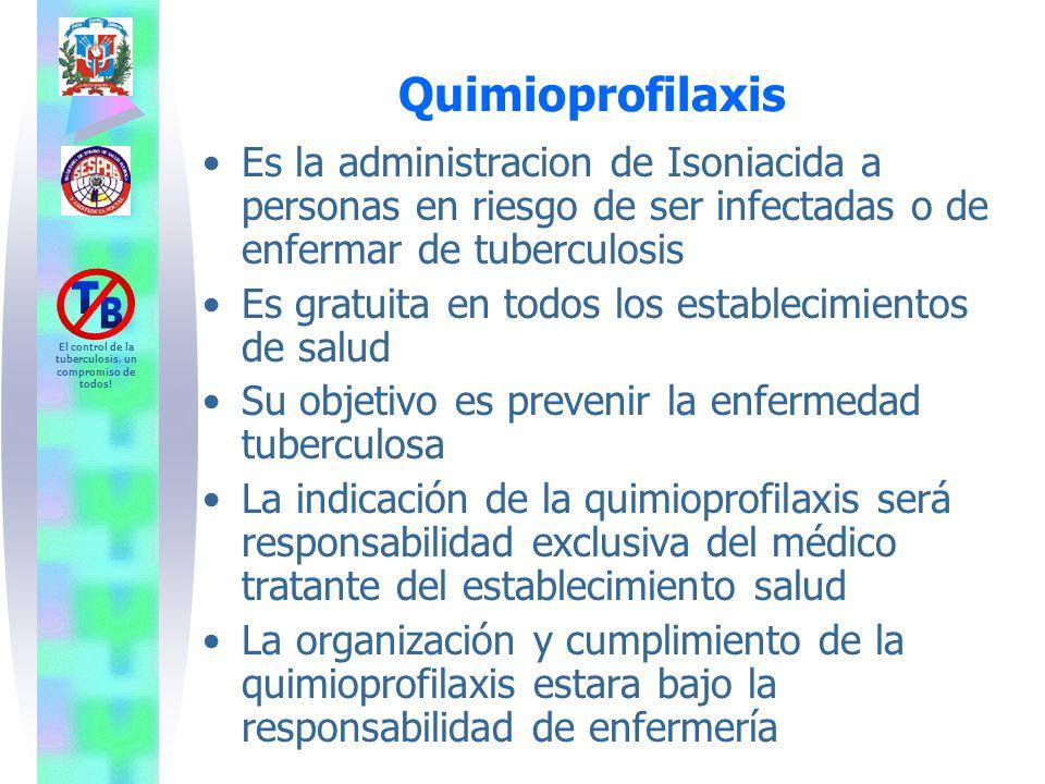 El control de la tuberculosis, un compromiso de todos! Quimioprofilaxis Es la administracion de Isoniacida a personas en riesgo de ser infectadas o de