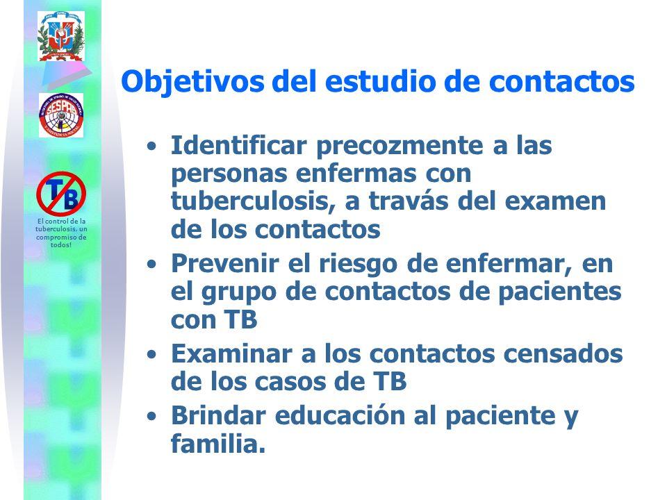 El control de la tuberculosis, un compromiso de todos! Objetivos del estudio de contactos Identificar precozmente a las personas enfermas con tubercul