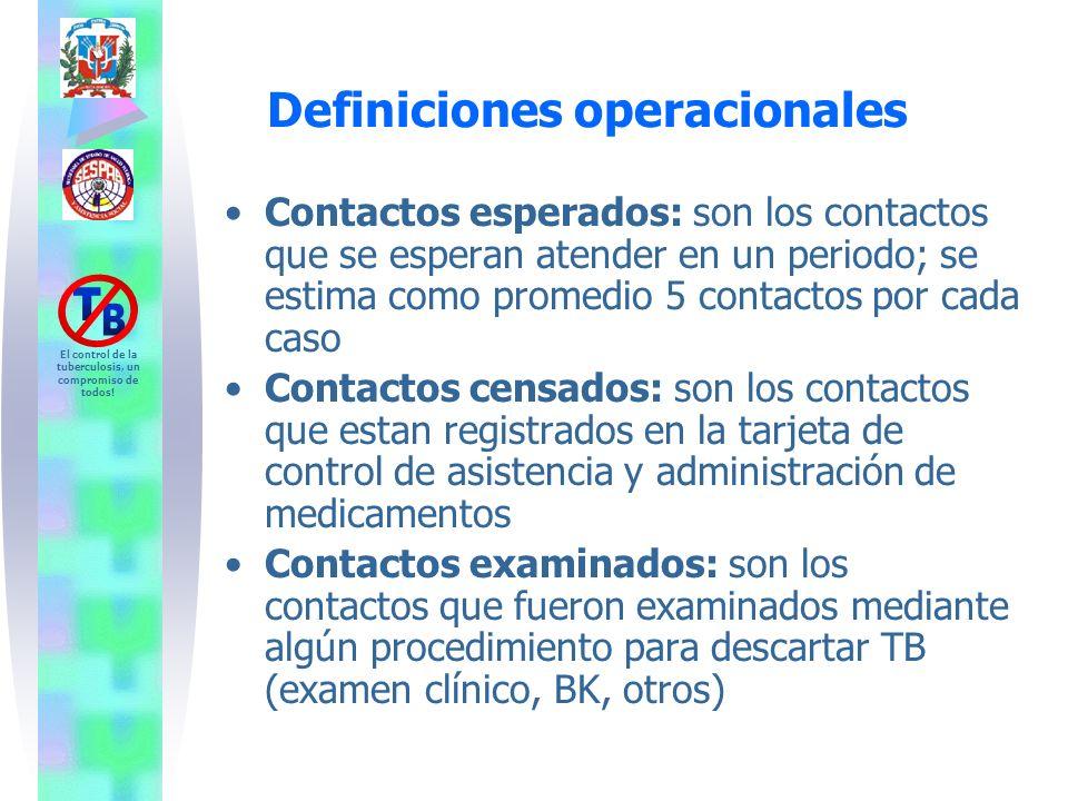 El control de la tuberculosis, un compromiso de todos! Definiciones operacionales Contactos esperados: son los contactos que se esperan atender en un