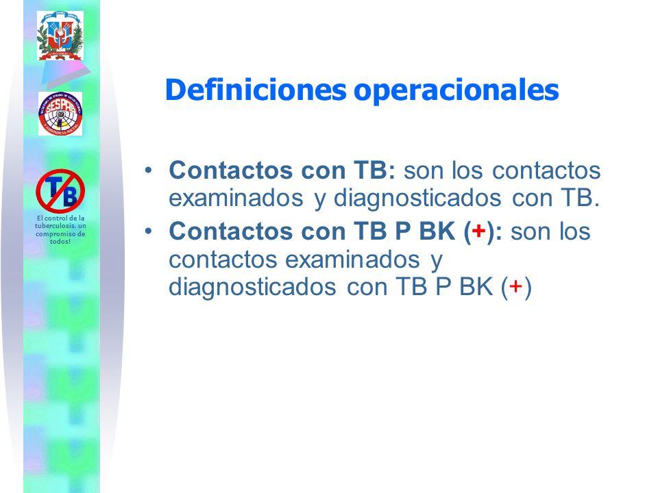 El control de la tuberculosis, un compromiso de todos! Contactos con TB: son los contactos examinados y diagnosticados con TB. Contactos con TB P BK (