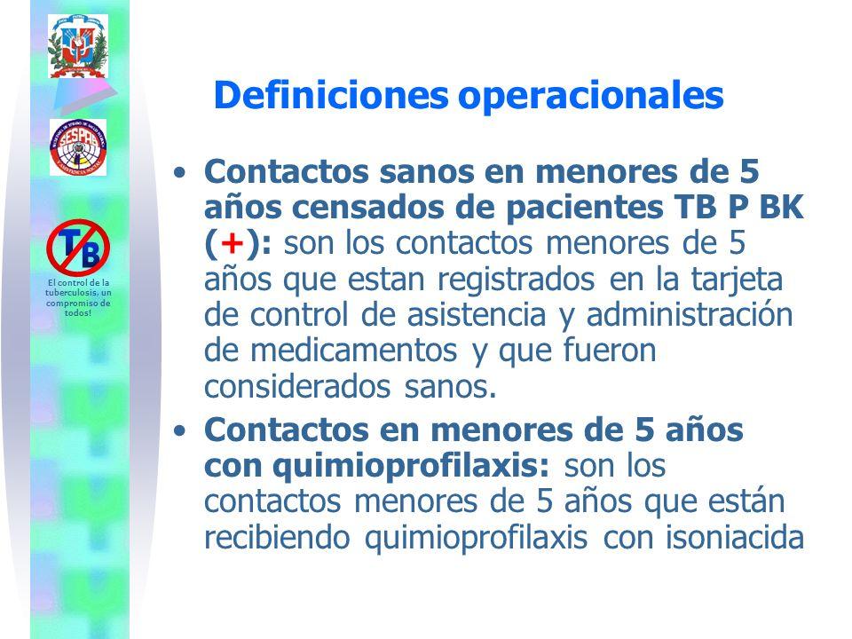 El control de la tuberculosis, un compromiso de todos! Contactos sanos en menores de 5 años censados de pacientes TB P BK (+): son los contactos menor