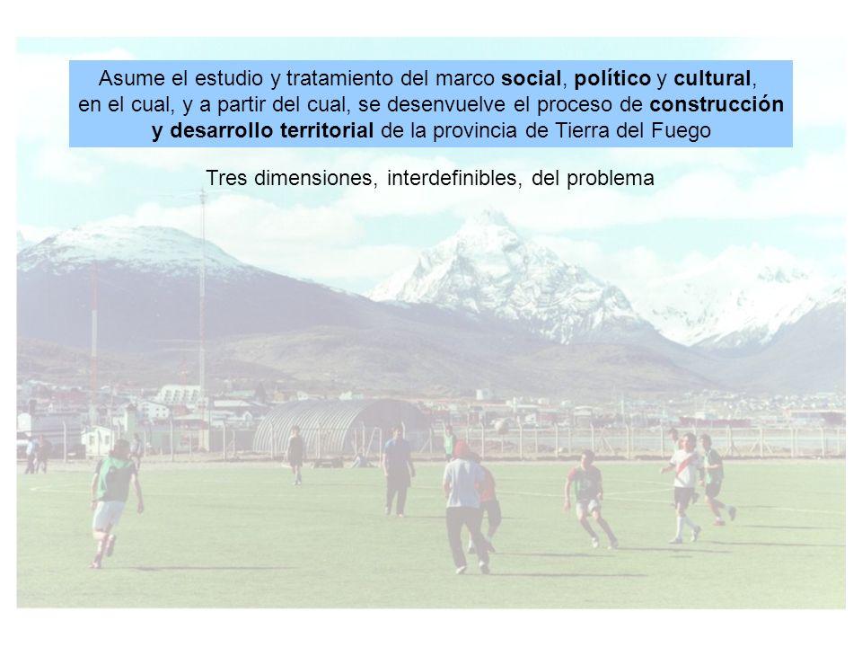 Tres dimensiones, interdefinibles, del problema Asume el estudio y tratamiento del marco social, político y cultural, en el cual, y a partir del cual, se desenvuelve el proceso de construcción y desarrollo territorial de la provincia de Tierra del Fuego