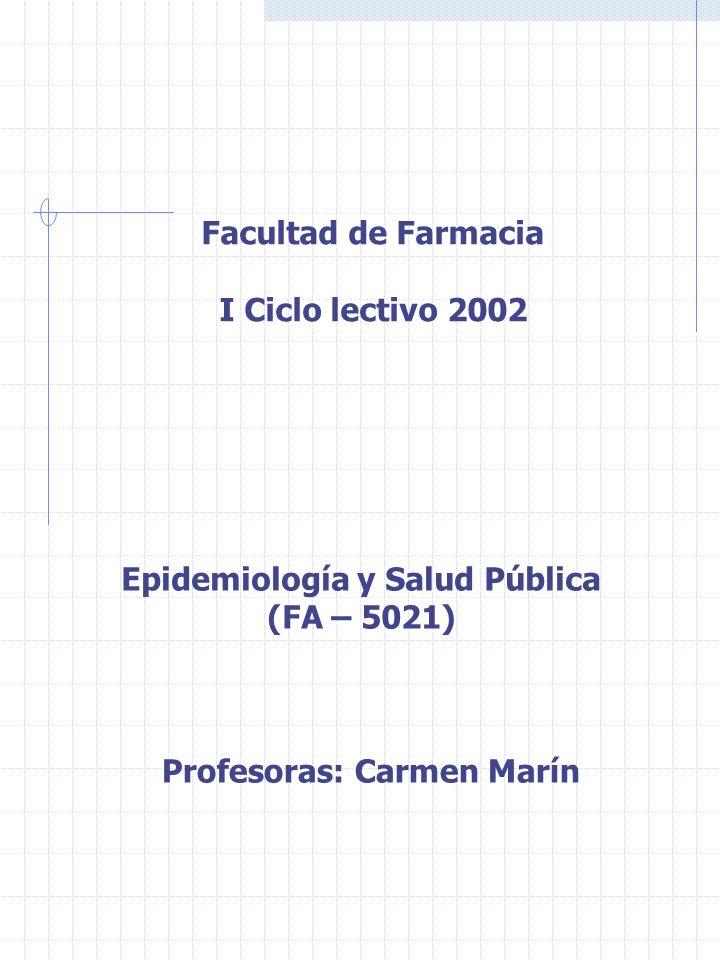Facultad de Farmacia I Ciclo lectivo 2002 Epidemiología y Salud Pública (FA – 5021) Profesoras: Carmen Marín