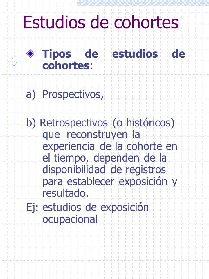 Estudios de cohortes Tipos de estudios de cohortes: a)Prospectivos, b) Retrospectivos (o históricos) que reconstruyen la experiencia de la cohorte en el tiempo, dependen de la disponibilidad de registros para establecer exposición y resultado.