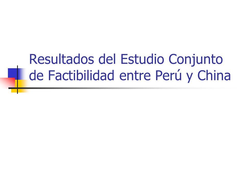 Resultados del Estudio Conjunto de Factibilidad entre Perú y China