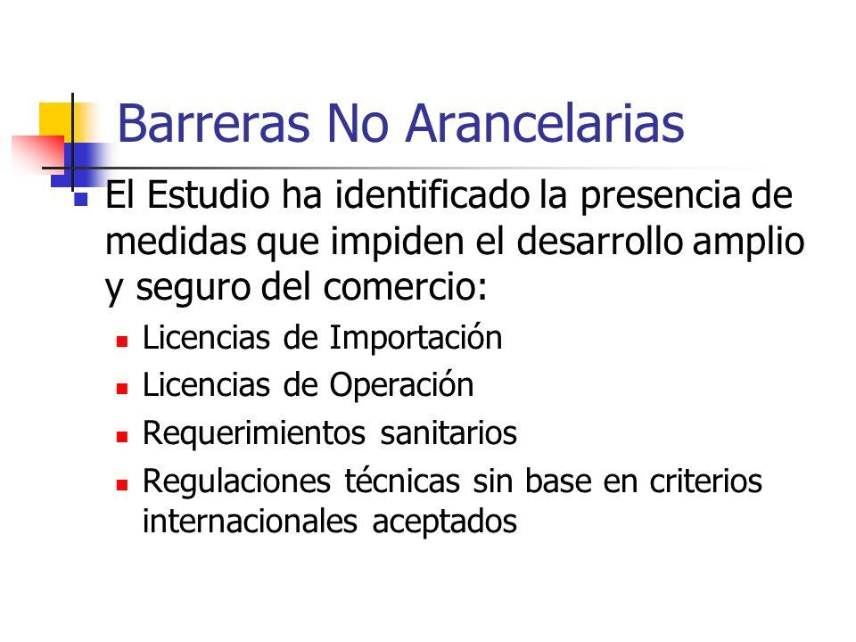 Barreras No Arancelarias El Estudio ha identificado la presencia de medidas que impiden el desarrollo amplio y seguro del comercio: Licencias de Impor