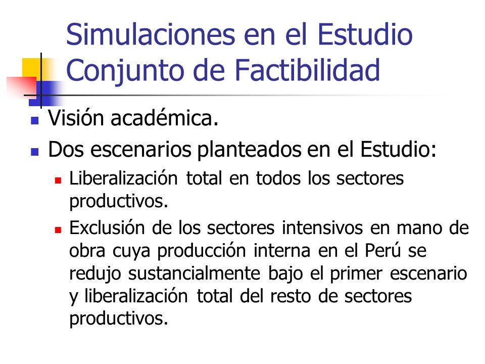 Simulaciones en el Estudio Conjunto de Factibilidad Visión académica. Dos escenarios planteados en el Estudio: Liberalización total en todos los secto