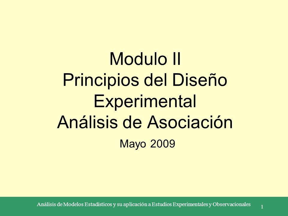 Análisis de Modelos Estadísticos y su aplicación a Estudios Experimentales y Observacionales 1 Modulo II Principios del Diseño Experimental Análisis d