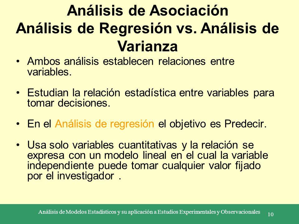 Análisis de Modelos Estadísticos y su aplicación a Estudios Experimentales y Observacionales 10 Ambos análisis establecen relaciones entre variables.