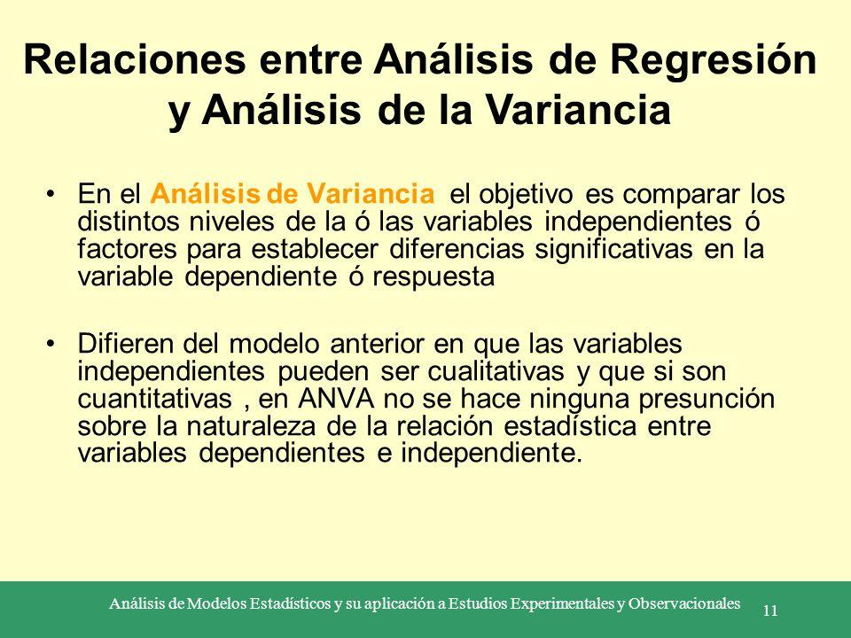 Análisis de Modelos Estadísticos y su aplicación a Estudios Experimentales y Observacionales 11 En el Análisis de Variancia el objetivo es comparar lo