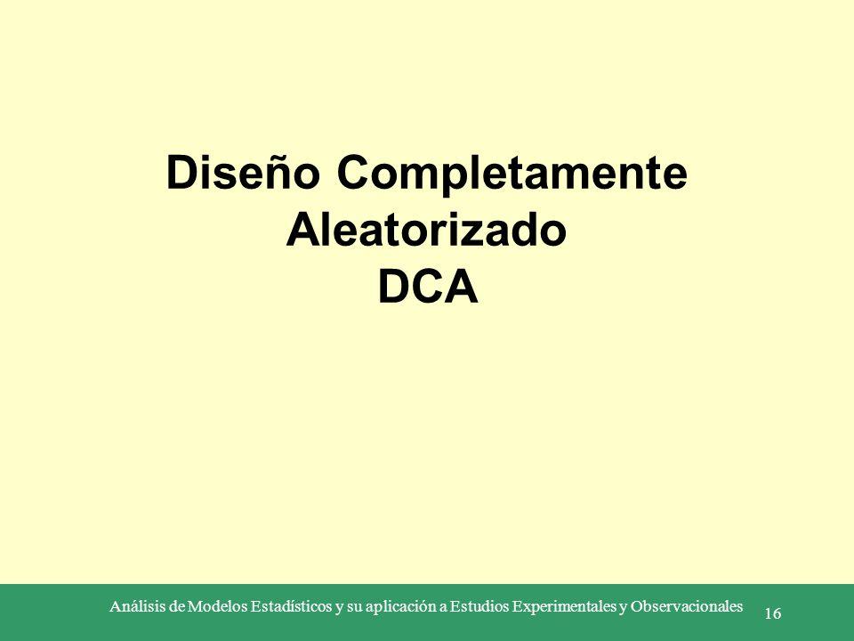 Análisis de Modelos Estadísticos y su aplicación a Estudios Experimentales y Observacionales 16 Diseño Completamente Aleatorizado DCA