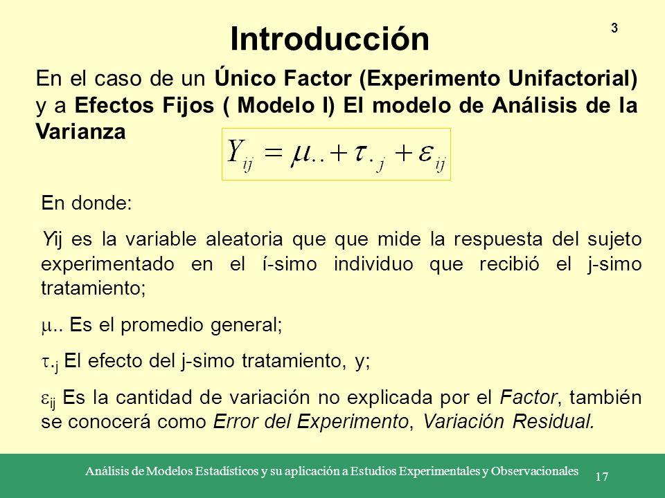 Análisis de Modelos Estadísticos y su aplicación a Estudios Experimentales y Observacionales 17 Introducción 3 En el caso de un Único Factor (Experime