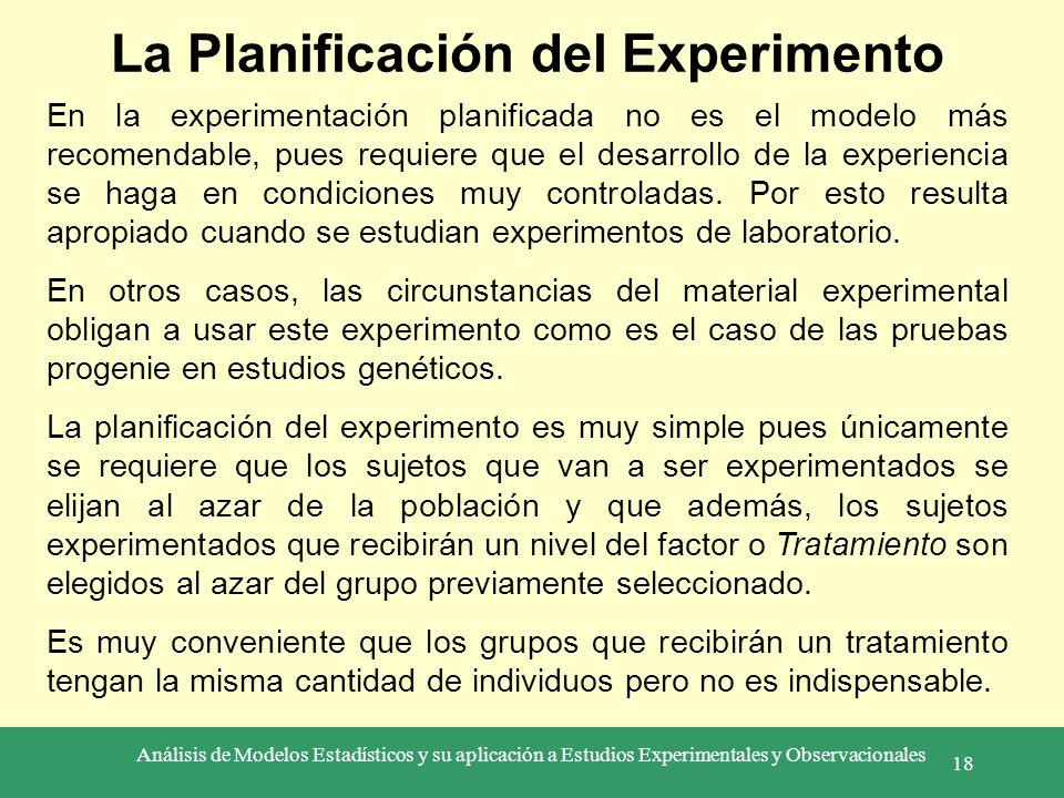 Análisis de Modelos Estadísticos y su aplicación a Estudios Experimentales y Observacionales 18 La Planificación del Experimento En la experimentación