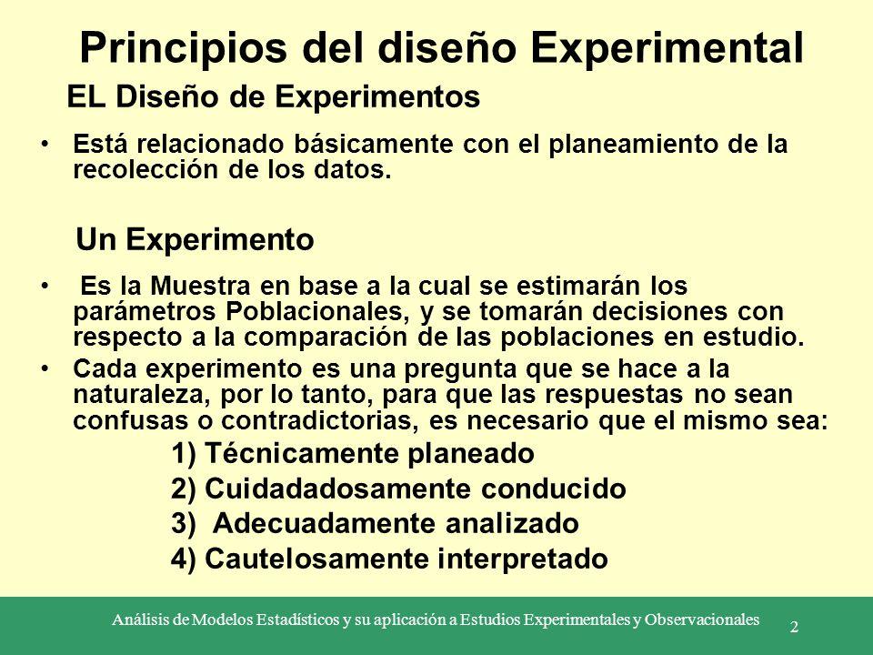 Análisis de Modelos Estadísticos y su aplicación a Estudios Experimentales y Observacionales 2 EL Diseño de Experimentos Está relacionado básicamente