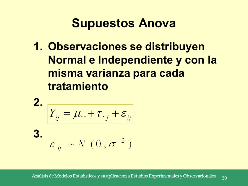 Análisis de Modelos Estadísticos y su aplicación a Estudios Experimentales y Observacionales 20 Supuestos Anova 1.Observaciones se distribuyen Normal