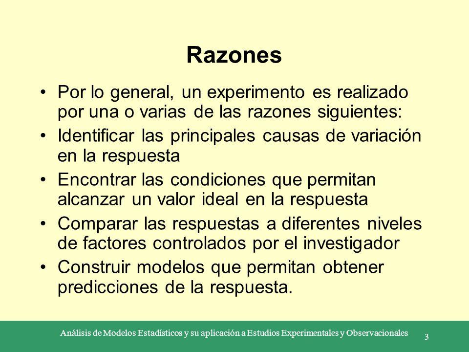Análisis de Modelos Estadísticos y su aplicación a Estudios Experimentales y Observacionales 3 Razones Por lo general, un experimento es realizado por