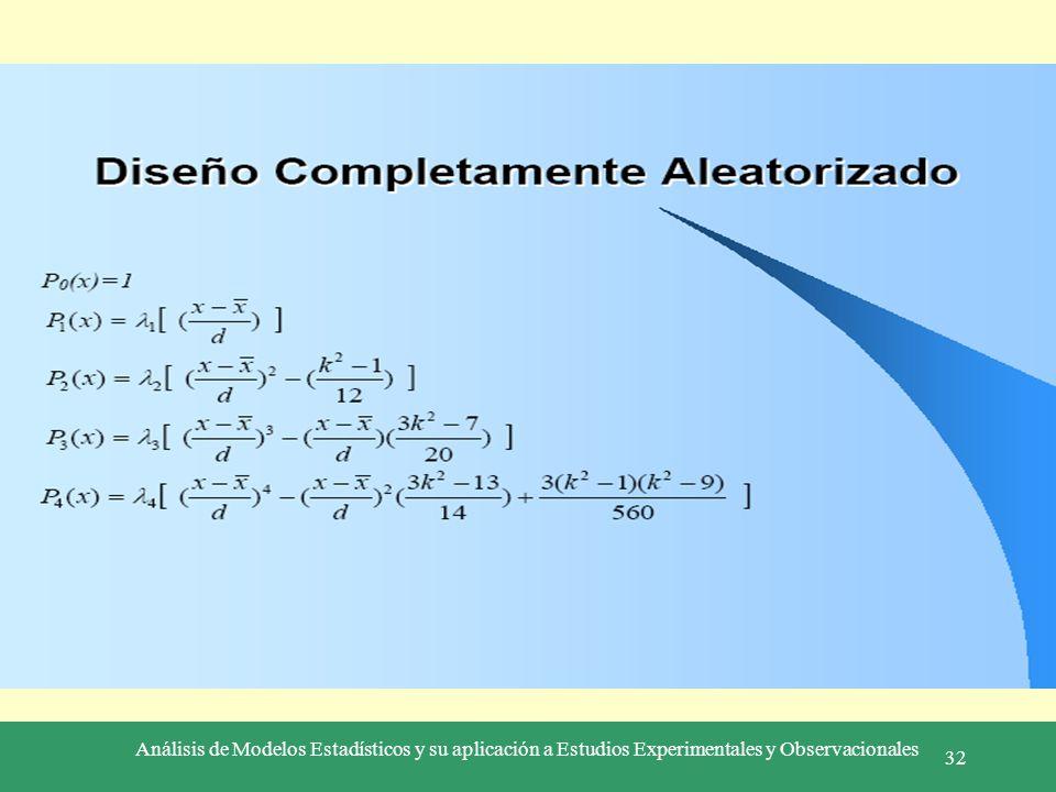 Análisis de Modelos Estadísticos y su aplicación a Estudios Experimentales y Observacionales 32