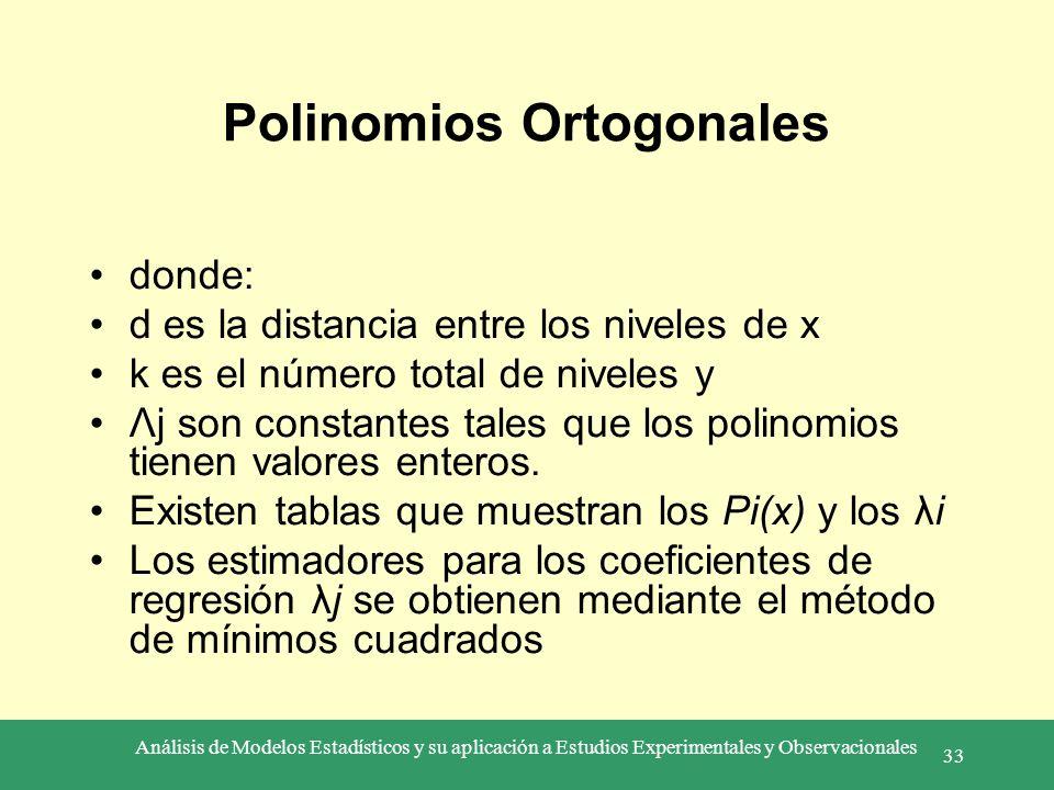 Análisis de Modelos Estadísticos y su aplicación a Estudios Experimentales y Observacionales 33 Polinomios Ortogonales donde: d es la distancia entre