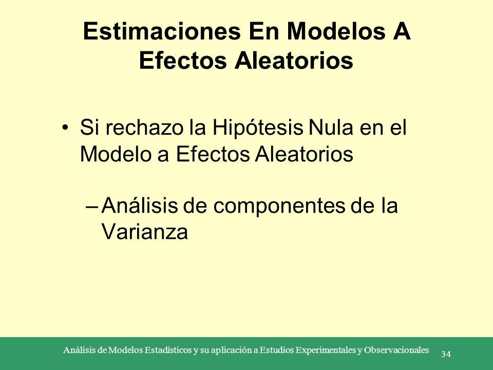 Análisis de Modelos Estadísticos y su aplicación a Estudios Experimentales y Observacionales 34 Estimaciones En Modelos A Efectos Aleatorios Si rechaz
