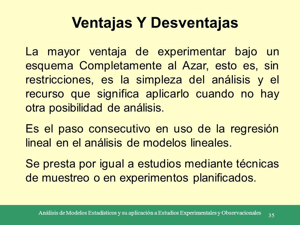 Análisis de Modelos Estadísticos y su aplicación a Estudios Experimentales y Observacionales 35 Ventajas Y Desventajas La mayor ventaja de experimenta