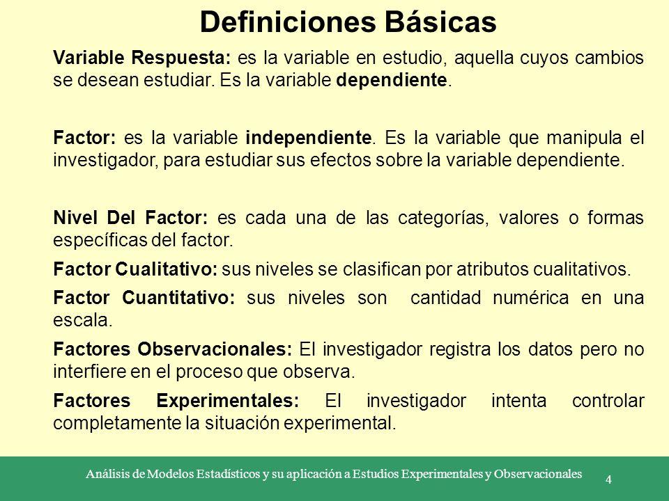Análisis de Modelos Estadísticos y su aplicación a Estudios Experimentales y Observacionales 4 Definiciones Básicas Variable Respuesta: es la variable