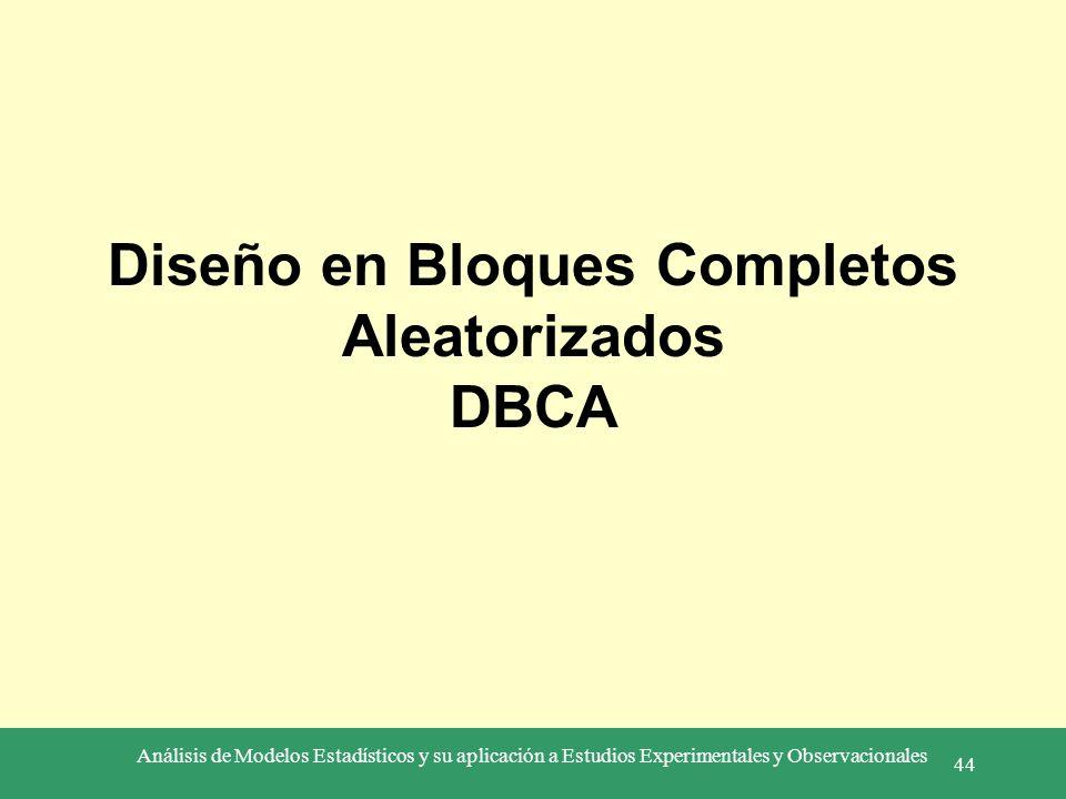 Análisis de Modelos Estadísticos y su aplicación a Estudios Experimentales y Observacionales 44 Diseño en Bloques Completos Aleatorizados DBCA