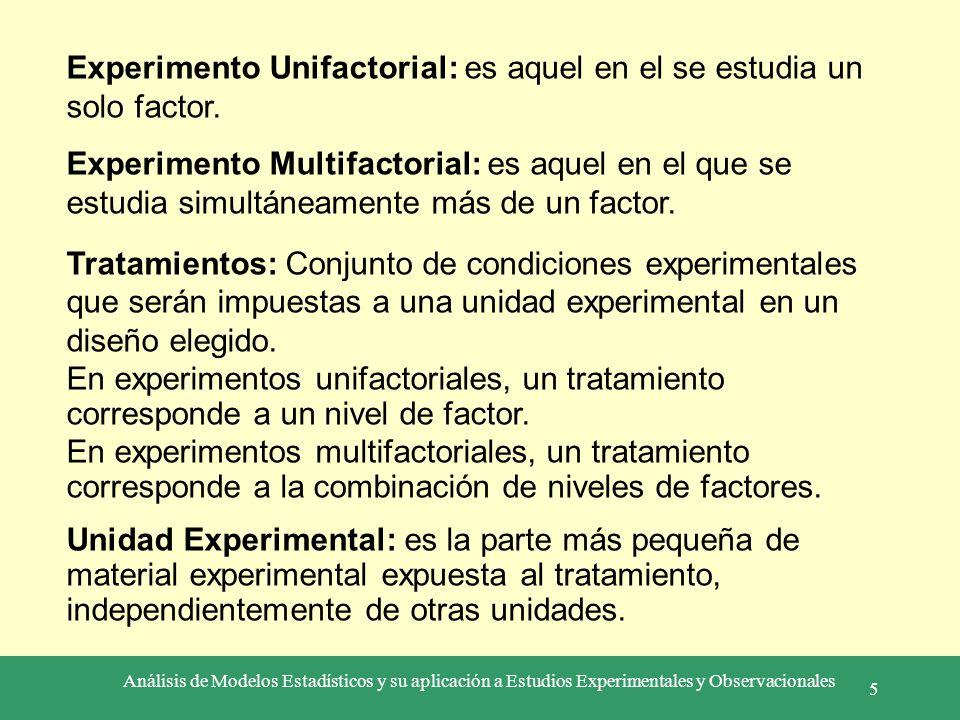 Análisis de Modelos Estadísticos y su aplicación a Estudios Experimentales y Observacionales 5 Experimento Unifactorial: es aquel en el se estudia un