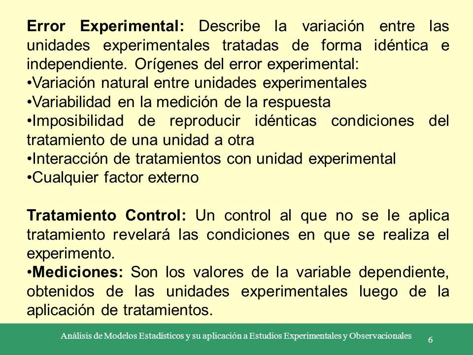 Análisis de Modelos Estadísticos y su aplicación a Estudios Experimentales y Observacionales 6 Error Experimental: Describe la variación entre las uni