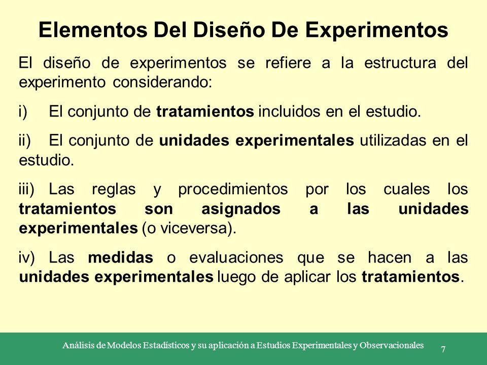 Análisis de Modelos Estadísticos y su aplicación a Estudios Experimentales y Observacionales 7 Elementos Del Diseño De Experimentos El diseño de exper