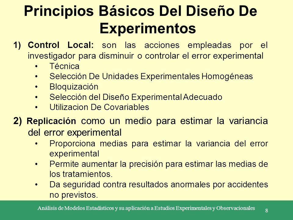 Análisis de Modelos Estadísticos y su aplicación a Estudios Experimentales y Observacionales 8 Principios Básicos Del Diseño De Experimentos 1)Control