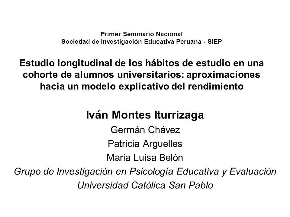 Resumen Este estudio se inició en el año 2002 (Semestre I) en una cohorte de ingresantes a una universidad privada de la Región Arequipa (Perú) a quienes se les aplicó un test que exploró sus hábitos de estudio.