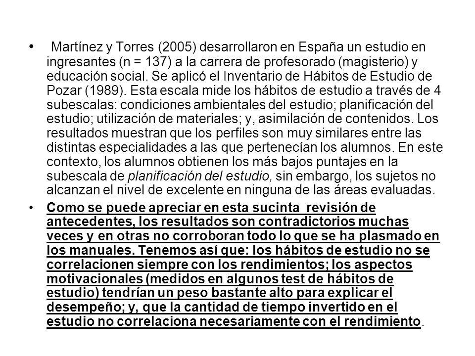 Martínez y Torres (2005) desarrollaron en España un estudio en ingresantes (n = 137) a la carrera de profesorado (magisterio) y educación social. Se a