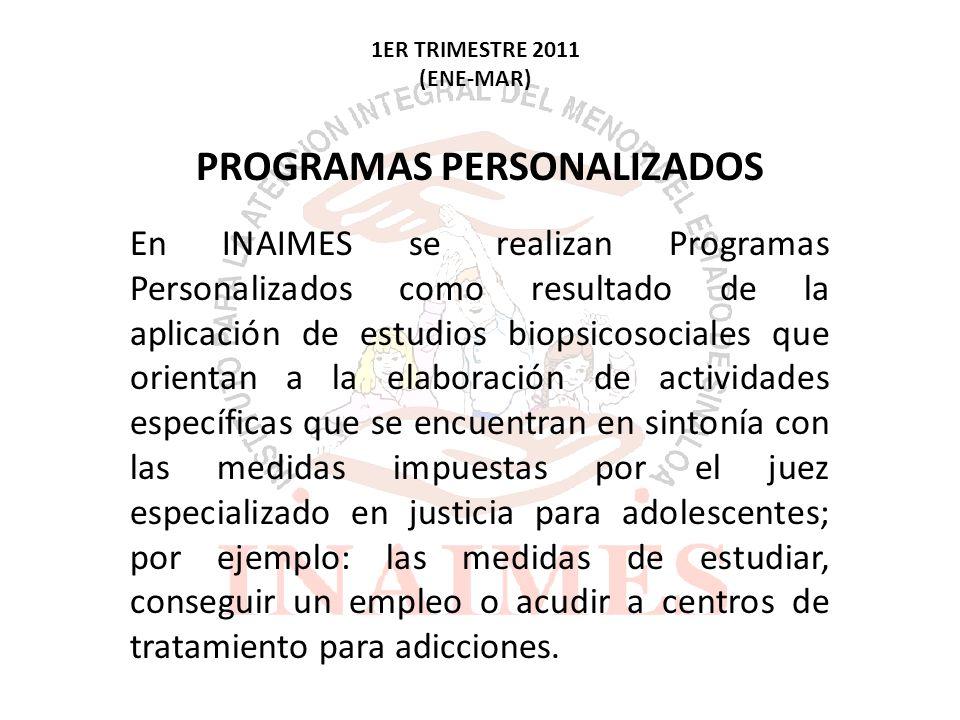 3ER TRIMESTRE 2011 (JUL-SEP) Son las solicitudes de programas personalizados que llegan a INAIMES por parte de los 3 juzgados de adolescentes que tenemos en el estado.