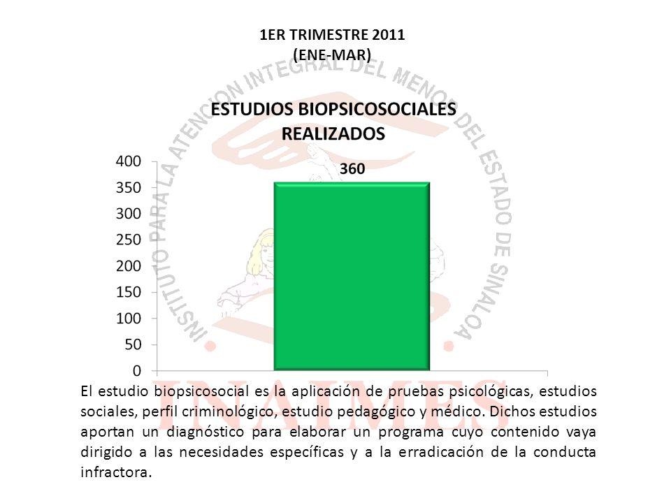 1ER TRIMESTRE 2011 (ENE-MAR) El estudio biopsicosocial es la aplicación de pruebas psicológicas, estudios sociales, perfil criminológico, estudio pedagógico y médico.