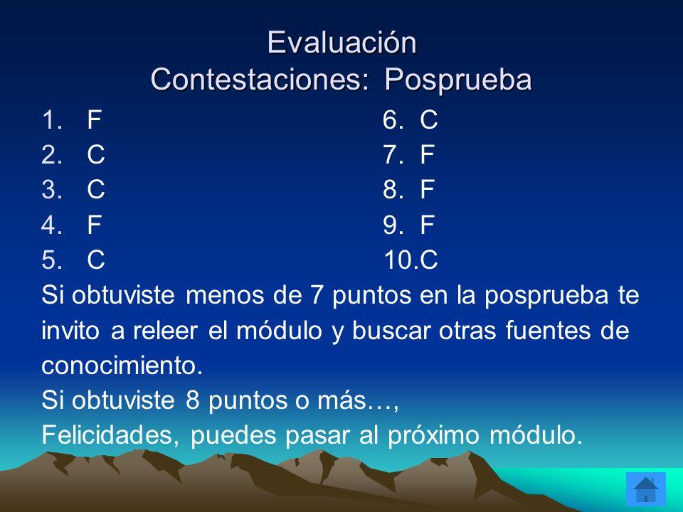 Evaluación Contestaciones: Posprueba 1.F6. C 2.C7. F 3.C8. F 4.F9. F 5.C10.C Si obtuviste menos de 7 puntos en la posprueba te invito a releer el módu