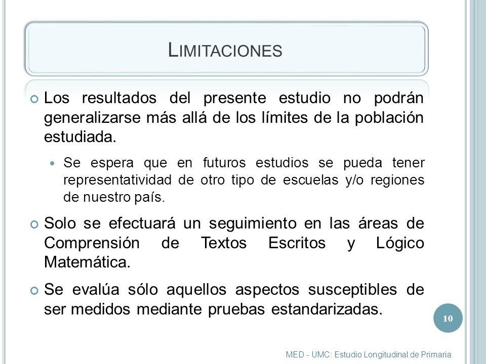 L IMITACIONES Los resultados del presente estudio no podrán generalizarse más allá de los límites de la población estudiada.