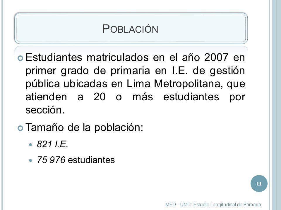 P OBLACIÓN Estudiantes matriculados en el año 2007 en primer grado de primaria en I.E.