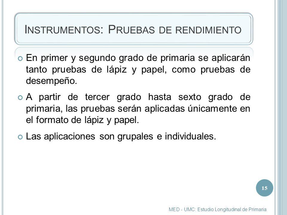 I NSTRUMENTOS : P RUEBAS DE RENDIMIENTO En primer y segundo grado de primaria se aplicarán tanto pruebas de lápiz y papel, como pruebas de desempeño.