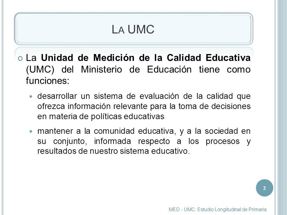 M UESTRA Se eligieron al azar las 100 instituciones educativas que participarían en el Estudio Longitudinal de Primaria.